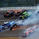 "A pack of cars during one of two ""Big Ones"" during Sunday's NASCAR Sprint Cup Series race at Talladega (Ala.) Superspeedway. (NASCAR Photo)"