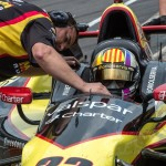 Oriol Servia waits to return to the track during Thursday's Indianapolis 500 practice. (IndyCar Photo)