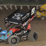 Daryn Pittman (9) holds off the advance of Joey Saldana during a World of Outlaws STP Sprint Car Series event at Eldora Speedway in Rossburg, Ohio, earlier this year. (Julia Johnson Photo)