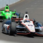 Will Power (12) leads James Hinchcliffe around Indianapolis Motor Speedway during Wednesday's practice for the Indianapolis 500. (David E. Heithaus photo)