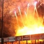 Fireworks go off prior to the start of Saturday's World of Outlaws STP Sprint Car Series feature at Eldora Speedway in Ohio. (Julia Johnson Photo)