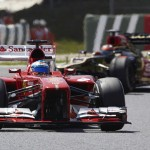 Fernando Alonso leads Kimi Raikkonen during the Spanish Grand Prix. (Steve Etherington Photo)