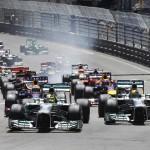 Nico Rosberg and Lewis Hamilton lead the Formula One field at the start of Sunday's Monaco Grand Prix. (Steve Etherington Photo)