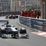 Nico Rosberg leads Sebastian Vettel through a turn during Sunday's Formula One Monaco Grand Prix. (Steve Etherington Photo)