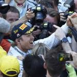 Nico Rosberg celebrates after winning the Formula One Monaco Grand Prix on Sunday. (Steve Etherington Photo)