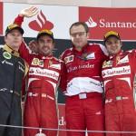 Kimi Raikkonen, Fernando Alonso and Felipe Massa made up the podium after the Spanish Grand Prix. (Steve Etherington Photo)