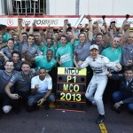 Nico Rosberg poses with his crew after winning Sunday's Formula One World Championship Monaco Grand Prix. (Steve Etherington Photo)
