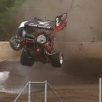 Kyle Sauder takes a wild ride during Sprint Invader action at Ohio's Eldora Speedway. (Jennifer Lynn photo)