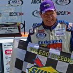 Ken Schrader, pictured after winning last year's ARCA Racing Series Menards 200 at Toledo (Ohio) Speedway, tackles Michigan Int'l Speedway this weekend. (Joe Secka/JMS Pro Photo)