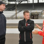 Penske Racing President Tim Cindric (left) chats with Penske drivers A.J. Allmendinger (center) and Helio Castroneves Saturday at Indianapolis Motor Speedway. (Ginny Heithaus Photo)