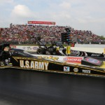 Tony Schumacher (near lane) and Shawn Langdon during Sunday's NHRA Top Fuel final at Heartland Park Topeka. The NHRA will race at Heartland Park on Memorial Day weekend in 2014. (Ivan Veldhuzien Photo)