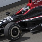 Michel Jourdain Jr. on track Monday during Indianapolis 500 practice at Indianapolis Motor Speedway. (IndyCar Photo)
