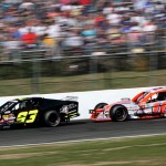 Rowan Pennink (93) and Ryan Preece during NASCAR Whelen Modified Tour competition at Stafford Motor Speedway recently. (Dick Ayers Photo)