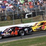 Bobby Santos III (44) battles Donny Lia during Sunday's NASCAR Whelen Modified Tour race at Stafford Motor Speedway. (Dick Ayers Photo)