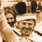 Having won an early 1980s ASA race, Dick Trickle smiles to the crowd. (NSSN Archives photo)