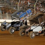 Kyle Hirst (83) battles Shane Golobic during the 2013 King of the West Sprint Car Series feature at Placerville (Calif.) Speedway. (KWS/Donna Photo)