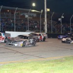 James Swan (97) and Jason Weinkauf (76) lead the ARCA Midwest Tour field to the green flag Saturday night at Dells Raceway Park in Wisconsin Dells, Wis. (Doug Hornickel Photo)