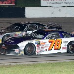 Jason Weinkauf  (76) and Skylar Holzhausen battle for position during Saturday's ARCA Midwest Tour event at Dells Raceway Park in Wisconsin Dells, Wis. (Doug Hornickel Photo)