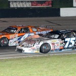 Dennis Prunty (42) and Chris Weinkauf during Saturday's ARCA Midwest Tour event at Dells Raceway Park in Wisconsin Dells, Wis. (Doug Hornickel Photo)