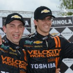 Max Angelelli (left) and Jordan Taylor celebrate after winning Saturday's Grand-Am Rolex Sports Car Series event at Belle Isle Park in Detroit, Mich. (Al Steinberg Photo)