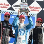 Simon Pagenaud (center), James Jakes (left) and Mike Conway (right) made up the podium after Sunday's Chevrolet Indy Dual In Detroit race two at Belle Isle Park in Detroit, Mich. (Al Steinberg Photo)