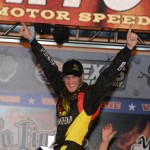Jeb Burton celebrates after winning his first NASCAR Camping World Truck Series race on Friday at Texas Motor Speedway. (Al Steinberg Photo)