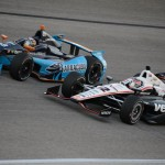 Will Power (12) battles Alex Tagliani during Saturday's IZOD IndyCar Series Firestone 550 at Texas Motor Speedway. (Al Steinberg Photo)