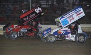 Chris Andrews (16) chases Craig Mintz at Attica Raceway Park. (Action photo)