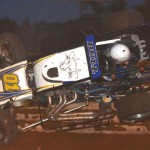Rick Horn flips his sprinter during AMSOIL USAC National Sprint Car Series action at Susquehanna Speedway Park in Newberrytown, Pa., last Sunday. (Dave Heithaus Photo)