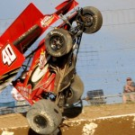 Caleb Helms catches some air during a crash on Friday afternoon at Limaland Motorsports Park. (Bill Weir Photo)