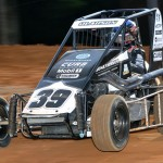 Bryan Clauson wheels his midget during hop laps for the Honda USAC National Dirt Midget Series at Bloomington (Ind.) Speedway. (Ginny Heithaus Photo)