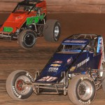 Bryan Clauson (20) battles Brent Marks Sunday during AMSOIL USAC National Sprint Car Series action at Susquehanna Speedway Park in Newberrytown, Pa. (Dave Heithaus Photo)