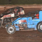 Shane Cottle (65) battles Kevin Thomas Jr. during Sunday's AMSOIL USAC National Sprint Car Series event at Susquehanna Speedway Park in Newberrytown, Pa. (Dave Heithaus Photo)