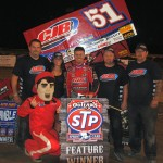 Paul McMahan stands in victory lane after winning Saturday's World of Outlaws STP Sprint Car Series race at I-96 Speedway in Lake Odessa, Mich. (T.J. Buffenbarger	 Photo)