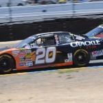Paulie Harraka (20) battles past Greg Pursley during Saturday's NASCAR K&N Pro Series West event at Sonoma (Calif.) Raceway. (Tom Parker Photo)