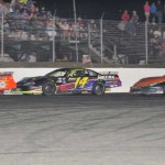 Barry Gray (29) battles Matt Frahm (14) and Mike O'Sullivan during the Granite State Pro Stock Series event at New Hampshire's Monadnock Speedway. (VLF photo)