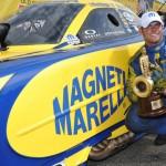 Matt Hagan celebrates after winning Sunday's NHRA Funny Car class crown at Old Bridge Township Raceway Park in Englishtown, N.J. (Harry Cella Photo)