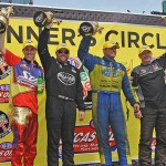 From left, Michael Ray, Shawn Langdon, Matt Hagan and Mike Edwards celebrate victories in their respective NHRA class Sunday at Old Bridge Township Raceway Park in Englishtown, N.J. (Harry Cella Photo)