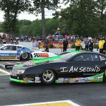 Allen Johnson (far lane) lines up against Mike Edwards during the finals for the NHRA Pro Stock class Sunday at Old Bridge Township Raceway Park in Englishtown, N.J. (Harry Cella Photo)