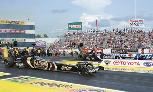 Shawn Langdon (far lane) lines up against Al-Anabi Racing teammate Khalid alBalooshi during the finals for the NHRA Top Fuel class at Old Bridge Township Raceway Park in Englishtown, N.J. (Harry Cella Photo)