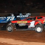 Gene Knaub (1) and Greg Roberson battle during Steel Block Bandit late model competition at Virginia's Eastside Speedway. (Clifford Dove Motorsports photo)