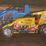 Tracy Hines (24) battles Shane Cottle during Sunday's AMSOIL USAC National Sprint Car Series feature at Susquehanna Speedway Park in Newberrytown, Pa. (Dave Heithaus Photo)