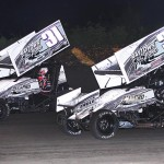 Christopher Bell (31b) and Brandon Berryman battle for second during Friday's ASCS Gulf South Region feature at Golden Triangle Raceway Park in Beaumont, Texas. (RonSkinnerPhotos.com Photo)