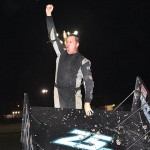 Michael McNeil celebrates after winning Friday's ASCS Gulf South Region event at Golden Triangle Raceway Park in Beaumont, Texas. (RonSkinnerPhotos.com Photo)