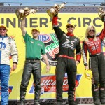 From left, Allen Johnson, John Hall, Spencer Massey and Courtney Force scored victories in their respective classes during last Sunday's NHRA event at New England Dragway. (Rhonda Hogue McCole Photo)