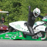 John Hall celebrates after winning the NHRA Pro Stock Motorocycle class last Sunday at New England Dragway. (Rhonda Hogue McCole Photo)