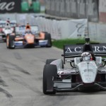 James Jakes leads a pack of cars during Sunday's Chevrolet Indy Dual In Detroit at Belle Isle Park. (IndyCar Photo)