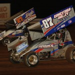Allen Krimes (87) and Lance Dewease during Friday's UNOH All Star Circuit of Champions race at Williams Grove Speedway. (Julia Johnson Photo)