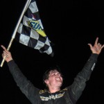 Garrett Campbell celebrates after winning Saturday's UARA-STARS Late Model Series race at Lonesome Pine Raceway in Coeburn, Va. (Drew Hierwarter Photo)