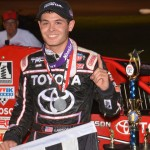 Kyle Larson stands in victory lane after winning Wednesday's Honda USAC National Dirt Midget Series feature at Gas City (Ind.) I-69 Speedway. (Dave Heithaus Photo)